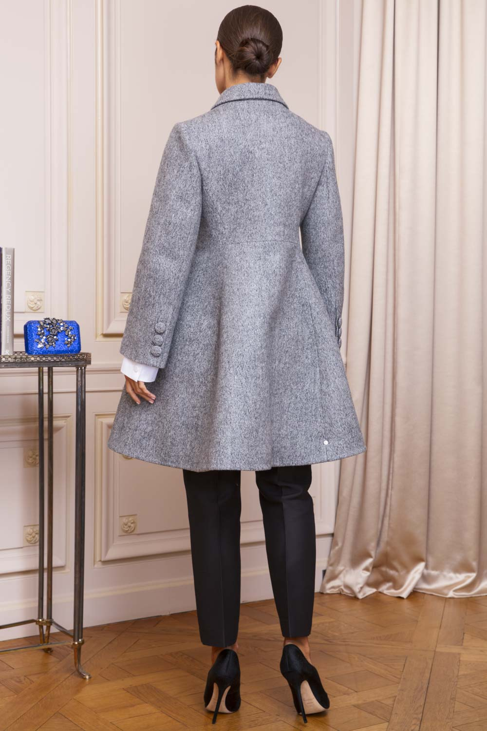 Sculptural dove grey bell-skirted coat