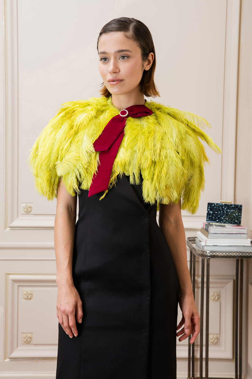 Green ostrich feather top