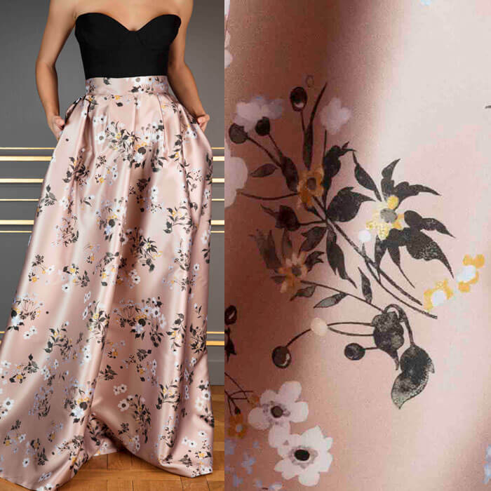 Dusty pink floral-print satin skirt