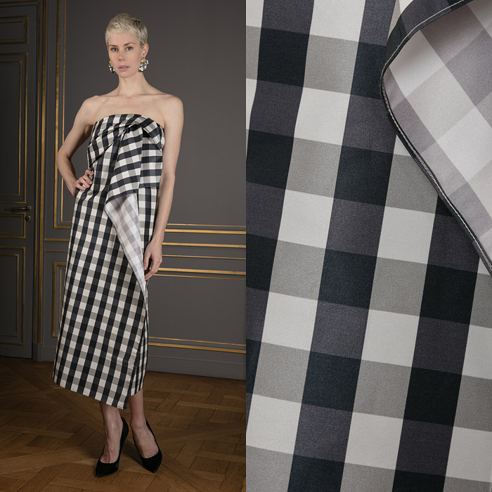 Checkered strapless midi dress