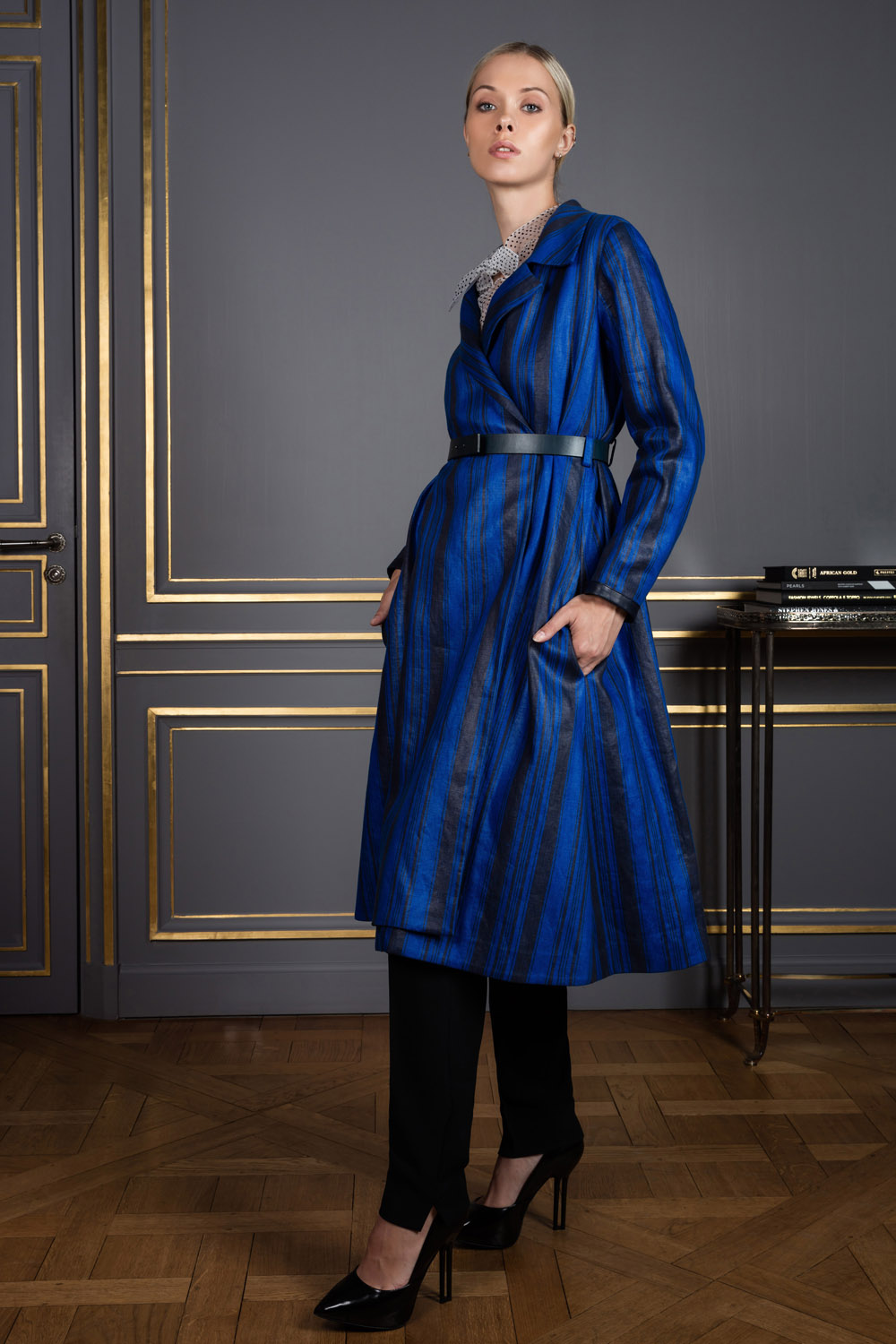 Coat with blue and black vertical stripes