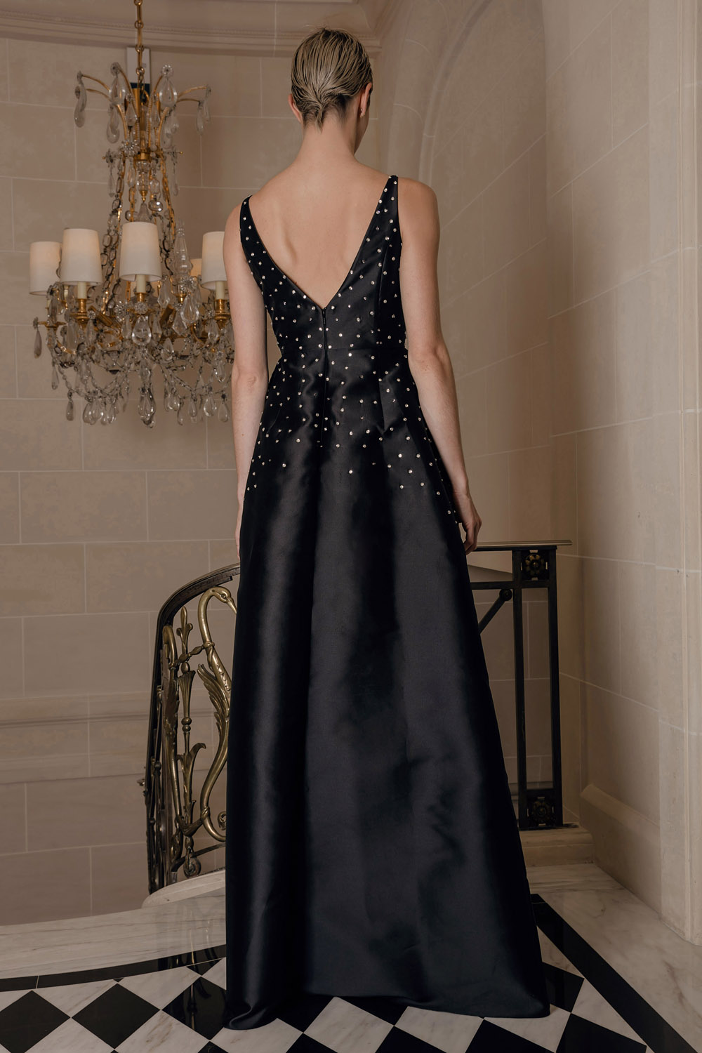 Black maxi dress with decoration
