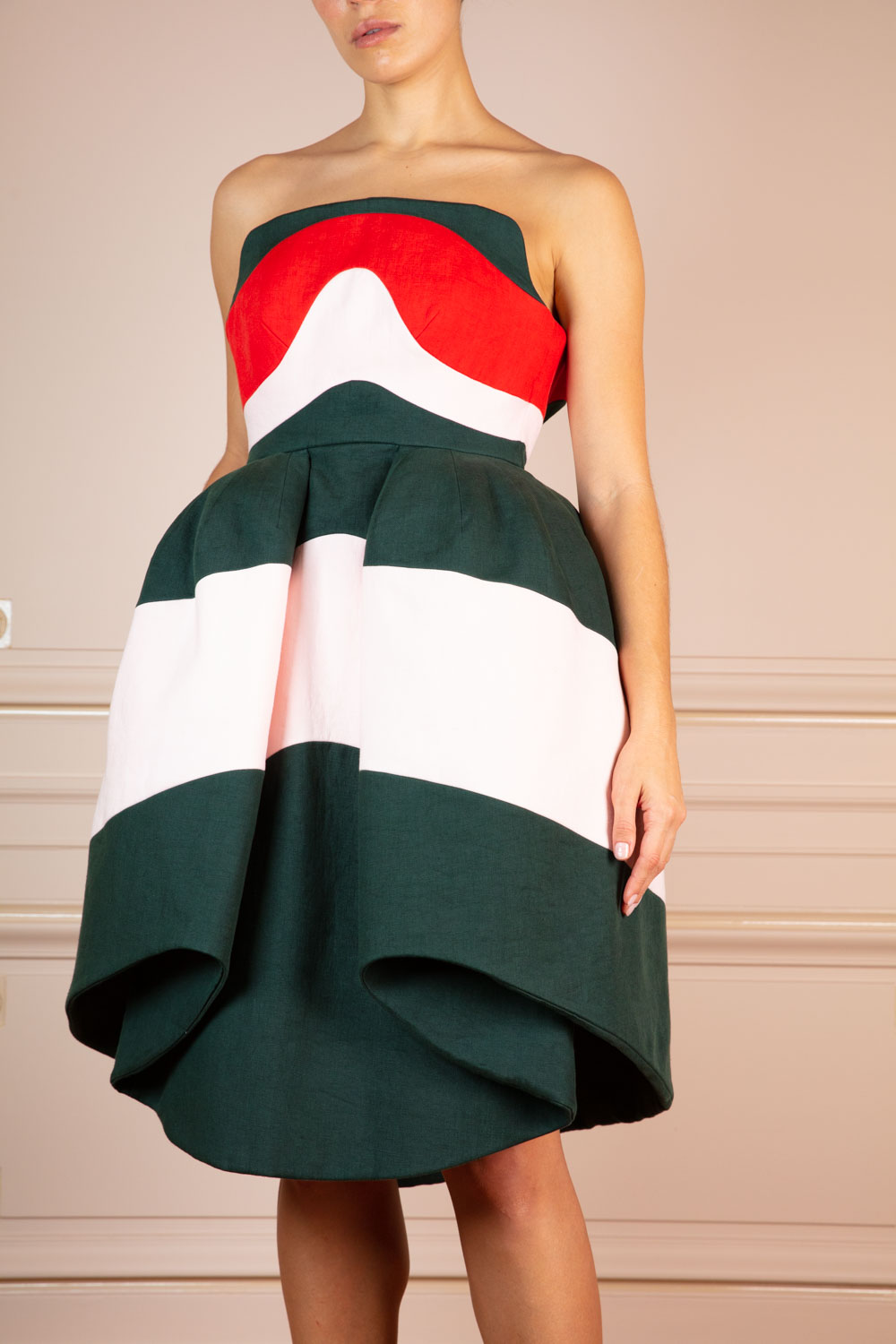 Green, pale pink and scarlet striped bustier dress with voluminous fold-over skirt
