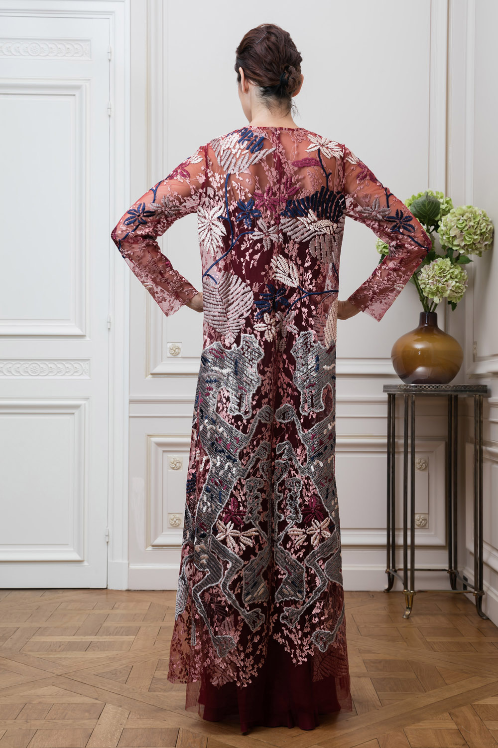 Mozaic Embroidered Tulle Sleeve Long Dress